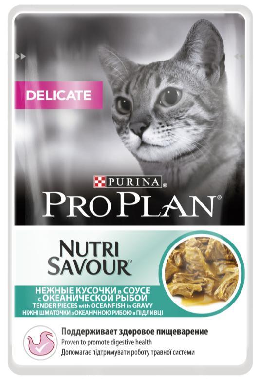 Консервы Pro Plan Nutri Savour для кошек с чувствительным пищеварением, с океанической рыбой, 85 г0120710Консервы Pro Plan Nutri Savour помогают уменьшить кожные реакции, связанные с пищевой непереносимостью. Нежные кусочки в пикантном соусе очень привлекательны для кошек благодаря запатентованной технологии. Доказано: способствует улучшению пищеварения благодаря содержанию инулина, пребиотика, который помогает сбалансировать кишечную флору кошек с повышенной чувствительностью.Состав: мясо и продукты переработки мяса, экстракты растительных белков, рыба и продукты переработки рыбы (в том числе океаническая рыба 4%), растительные и животные жиры, продукты переработки растительного сырья, красители, сахара, витамины.Добавленные вещества (МЕ/кг): витамин А 1058, витамин D3 148, витамин Е 320, мг/кг: таурин 456, железо 10,1, йод 0,38, медь 0,96, марганец 1,76, цинк 27,35, селен 0,022.Гарантируемые показатели: влажность 78%, белок 12,6%, жир 3,8%, сырая зола 2,3%, сырая клетчатка 0,3%, омега-3 жирные кислоты 0,1%, омега-6 жирные кислоты 1,1%.Товар сертифицирован.