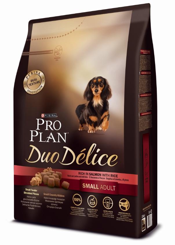 Корм сухой Pro Plan Duo Delice для собак мелких и карликовых пород, с лососем и рисом, 2,5 кг15881Сухой корм Pro Plan Duo Delice - это полнорационный корм для взрослых собак мелких и карликовых пород. Это первый корм для собак, сочетающий в себе безупречные питательные свойства вместе с исключительным вкусом. Он состоит из уникального комплекса питательных хрустящих гранул и нежных измельченных кусочков мяса, которые собаки просто обожают. Состав: лосось (15%), сухой белок птицы, кукуруза, пшеница, рис (4%), животный жир, пшеничный глютен, сухая мякоть свеклы, минералы, вкусоароматическая кормовая добавка, кукурузный глютен, пропиленгликоль, яичный порошок, солодовая мука, витамины. Добавленные вещества (на 1 кг): витамин А 28200 МЕ; витамин D3 920 МЕ; витамин Е 550 МЕ; витамин С 140 мг; железо 75 мг; йод 1,9 мг; медь 10 мг; марганец 35 мг; цинк 140 мг; селен 0,12 мг. Технологические добавки: экстракт токоферолов натурального происхождения 50 мг/кг. Гарантируемые показатели: белок 27%, жир 17%, сырая зола 8%, сырая клетчатка 2%. Товар сертифицирован.