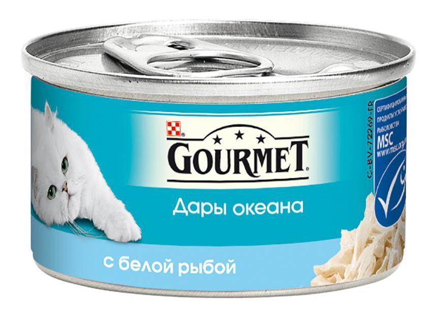 Консервы Gourmet Дары океана для кошек, с белой рыбой, 85 г0120710Корм Gourmet Дары океана - это изысканное разнообразие рыбных блюд, которыми вы можете побаловать вашего любимца. Ваша кошка высоко оценит нежные кусочки из рыбы, приготовленные в аппетитном соусе.Состав: рыба и продукты переработки рыбы (в том числе белой рыбы 4%), экстракт растительного белка, мясо и продукты переработки мяса 2,5%, рыбий жир, растительное масло, сорбитол, сахара, минеральные вещества, красители, витамины.Добавленные вещества: МЕ/кг: витамин A 1960, витамин D3 140, мг/кг: железо 19, йод 0,15, медь 0,93, марганец, 1,3, цинк 19.Гарантируемые показатели: влажность 81,3%, белок 10,6%, жир 2,5%, сырая зола 1,9%, сырая клетчатка 0,8%.Товар сертифицирован.