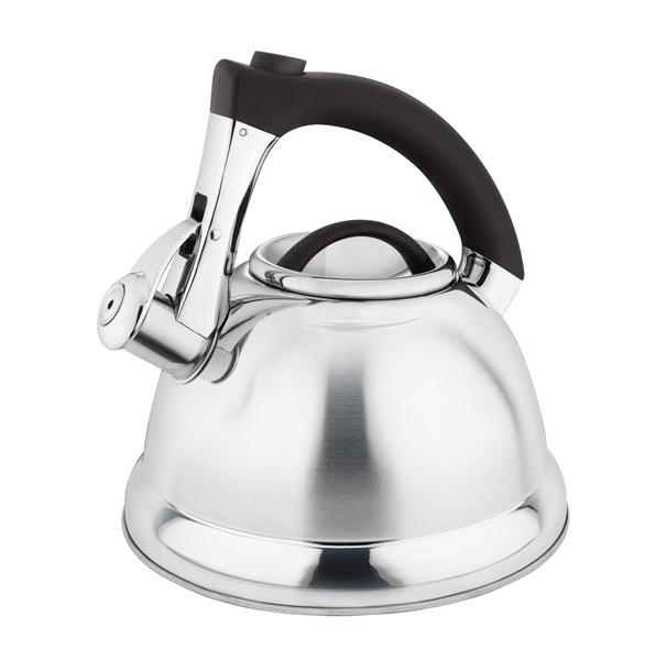 Чайник Laracook, со свистком, цвет: черный, 3 л. LC-063454 009312Чайник Laracook выполнен из нержавеющей стали высокой прочности с матовой полировкой. Чайник оснащен откидным свистком, который громко оповестит о закипании воды. Удобная эргономичная ручка выполнена из бакелита. Такой чайник идеально впишется в интерьер любой кухни и станет замечательным подарком к любому случаю. Подходит для всех типов плит, включая индукционные. Можно мыть в посудомоечной машине. Диаметр чайника по верхнему краю: 9,5 см. Диаметр индукционного диска: 22 см. Высота чайника (с учетом ручки): 23 см.