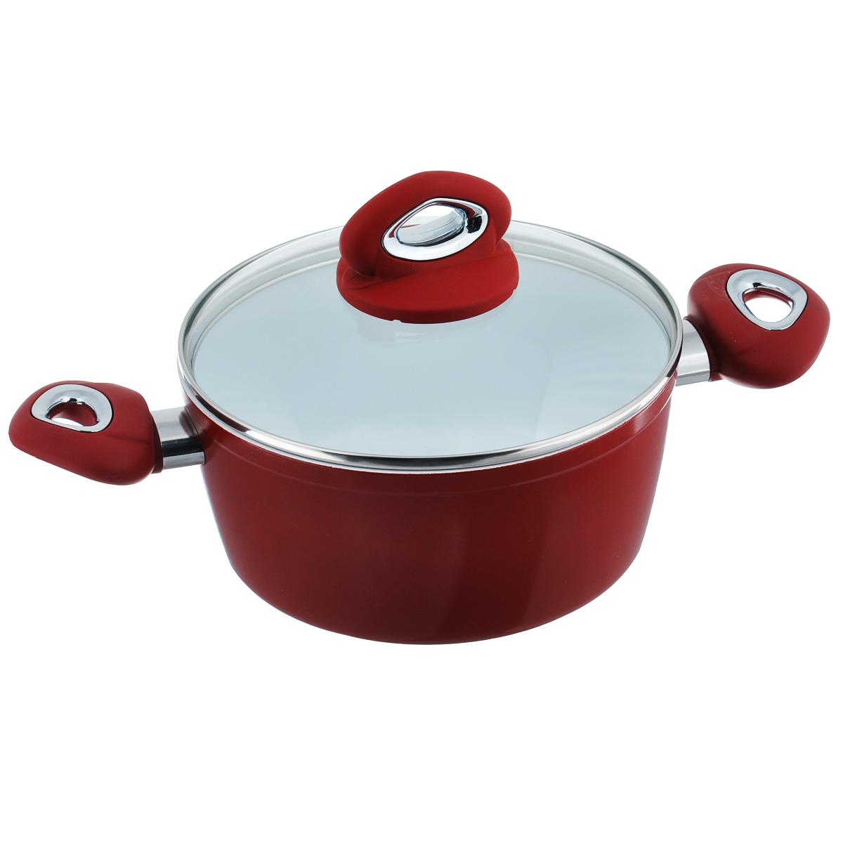 Кастрюля Bialetti с крышкой, с керамическим покрытием, цвет: красный, 2,5 л54 009312Кастрюля Bialetti изготовлена из тяжело анодированного алюминия - металла прочнее стали, который обладает отличными антипригарными свойствами и высокой теплопроводностью. Вам потребуется меньше времени и меньший температурный режим для готовки, т.к. эко посуда нагревается быстрее и сильнее, чем традиционная. При производстве посуды Bialetti не используются опасные для окружающей среды компоненты (такие как PFOA), имеющие длительный период распада. Особо прочное керамическое покрытие Aeternum предотвращает пригорание пищи и обеспечивает ее легкое приготовление. Кроме того, покрытие обладает жиро- и водоотталкивающими свойствами, поэтому легко чистится. Удобные ручки выполнены из бакелита с прорезиненным покрытием. Крышка изготовлена из жаропрочного стекла. Внешние стенки покрыты жаропрочной эмалью красного цвета. Самым неожиданным станут впечатления от цвета посуды - пожарьте мясо или картошку на белоснежной керамической посуде хоть один раз, и вы больше не сможете есть продукты, приготовленные на традиционных черных и темно-серых поверхностях. Подходит для всех плит, кроме индукционных. Можно мыть в посудомоечной машине. Высота стенки: 10 см. Ширина (с учетом ручек): 35 см. Толщина стенки: 3 мм. Толщина дна: 5 мм. Диаметр основания: 16 см.