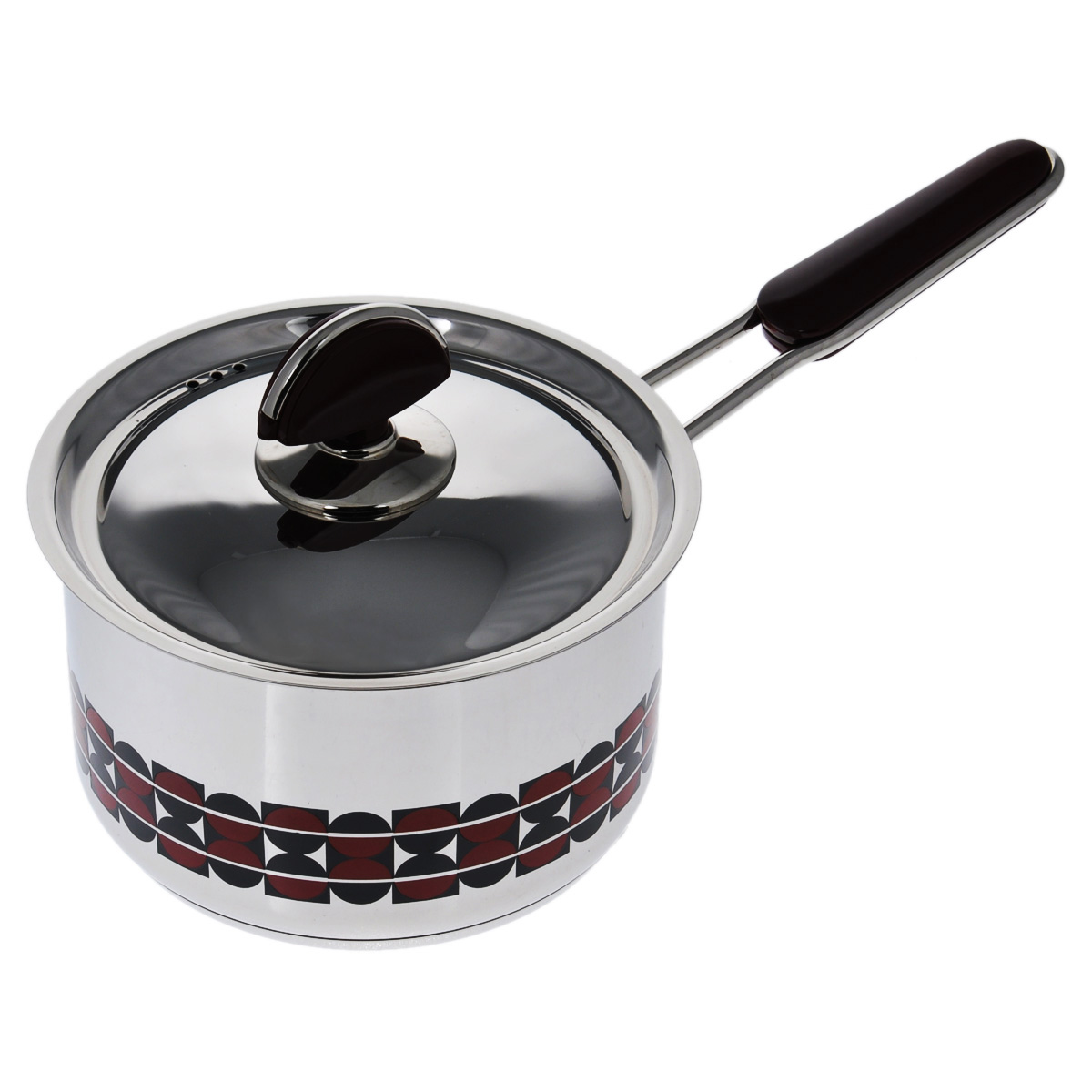 Ковш Kitchen-Art EX Pot с крышкой, 2,1 л40970Ковш Kitchen-Art EX Pot выполнен из высококачественной нержавеющей стали Премиум-ЛЮКС с зеркальной полировкой. Внешние стенки оформлены красивым геометричным рисунком в стиле Luxury. Дно изделия с трехслойным напылением, легкое, но очень прочное. Модный европейский дизайн, обтекаемые линии и формы. Для удобного использования ручка из нержавеющей стали оснащена бакелитовой вставкой бордового цвета. Крышка выполнена из нержавеющей стали со специальными отверстиями для выпуска пара. Подходит для всех типов плит, включая индукционные. Можно мыть в посудомоечной машине.Высота стенки: 10 см. Длина ручки: 15 см. Толщина стенки: 2 мм. Толщина дна: 4 мм.Диаметр дна: 14 см.