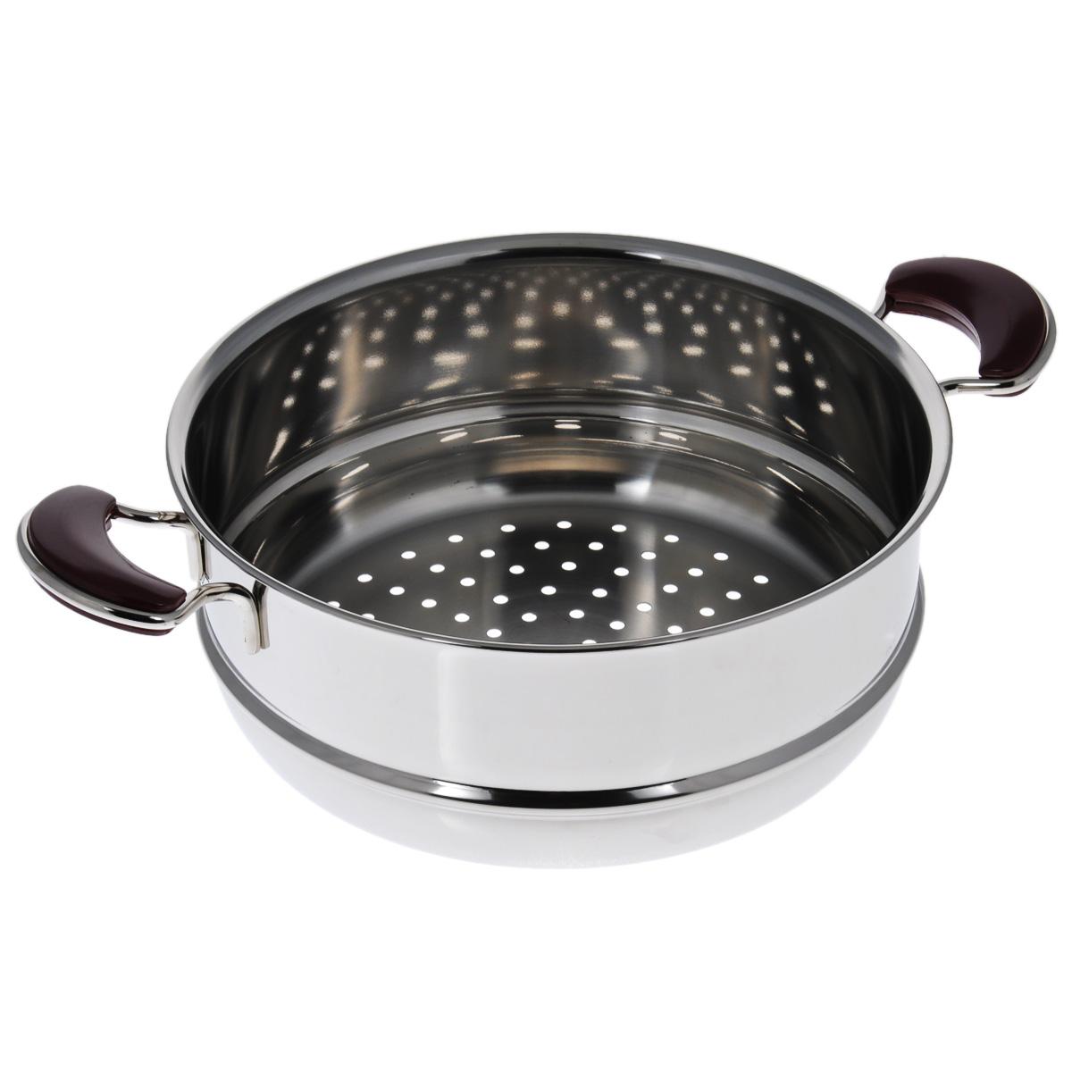 Вставка-дуршлаг Kitchen-Art EX Pot. Диаметр 26 см115510Вставка-дуршлаг Kitchen-Art EX Pot выполнена из высококачественной нержавеющей стали с зеркальной полировкой. Дно изделия с трехслойным напылением, легкое, но очень прочное. Модный европейский дизайн, обтекаемые линии и формы. Изделие может использоваться как вставка-пароварка для обычной кастрюли или как обычный дуршлаг. Для удобного использования ручки из нержавеющей стали оснащены бакелитовыми вставками бордового цвета. Можно мыть в посудомоечной машине. Высота стенки: 10 см. Ширина (с учетом ручек): 37 см. Толщина стенки: 2 мм.