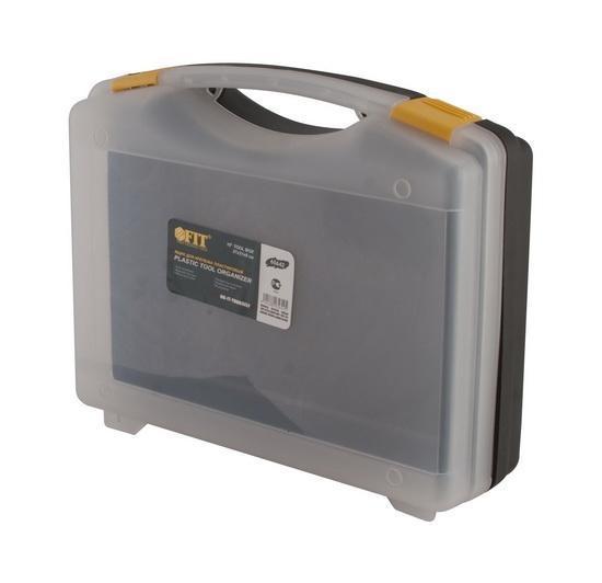 Ящик для крепежа FIT, 27 х 21 х 8 см2706 (ПО)Ящик FIT 65642 используется для централизованного хранения крепежа, различного инструмента и расходных материалов. Данная модель обладает компактными размерами и имеет габариты . Также, ящик FIT 65642 изготовлен из ударопрочного пластика и оснащен удобной рукояткой для переноски.