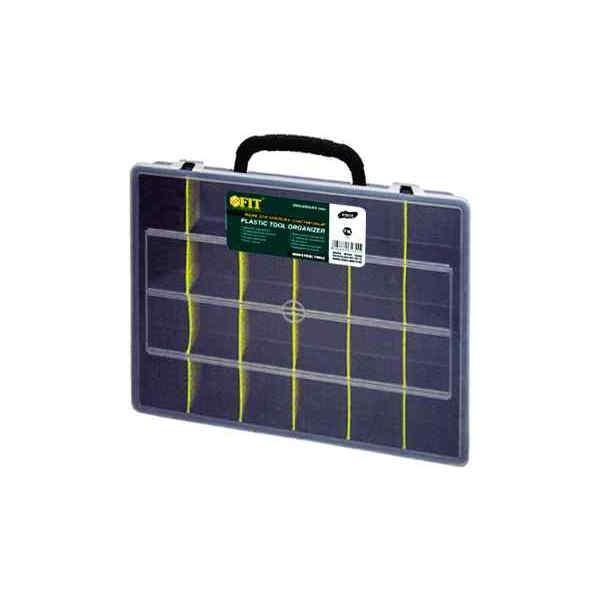 Ящик для крепежа FIT, 36 х 28 х 7 см2706 (ПО)Ящик FIT 65 - вместительное, легкое и удобное приспособление для хранения и комфортной транспортировки различного инструмента, крепежа, оснастки и других мелких деталей. Данная модель отличается вместительной конструкцией и имеет длину по диагонали 14. Также, ящик FIT 65 оснащен переставными перегородками для наиболее оптимальной организации пространства.