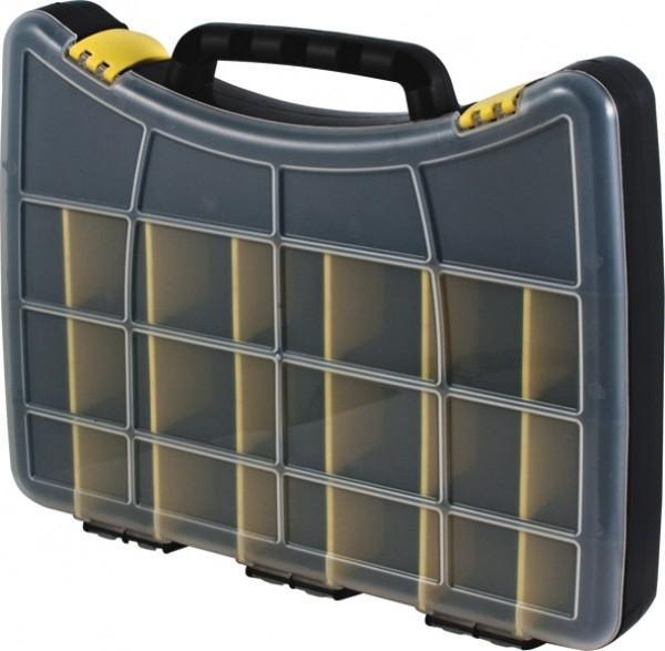 Ящик для крепежа FIT, 30 х 22,5 х 4,5 см. 6180621Ящик FIT 61 предназначен для хранения и транспортировки инструмента, крепежа, мелких элементов и электродеталей. Данная модель отличается компактными размерами и имеет габариты 30х22.5х4.5 см. Также, ящик FIT 61 оснащен надежными защелками и разделен на 22 отделения.