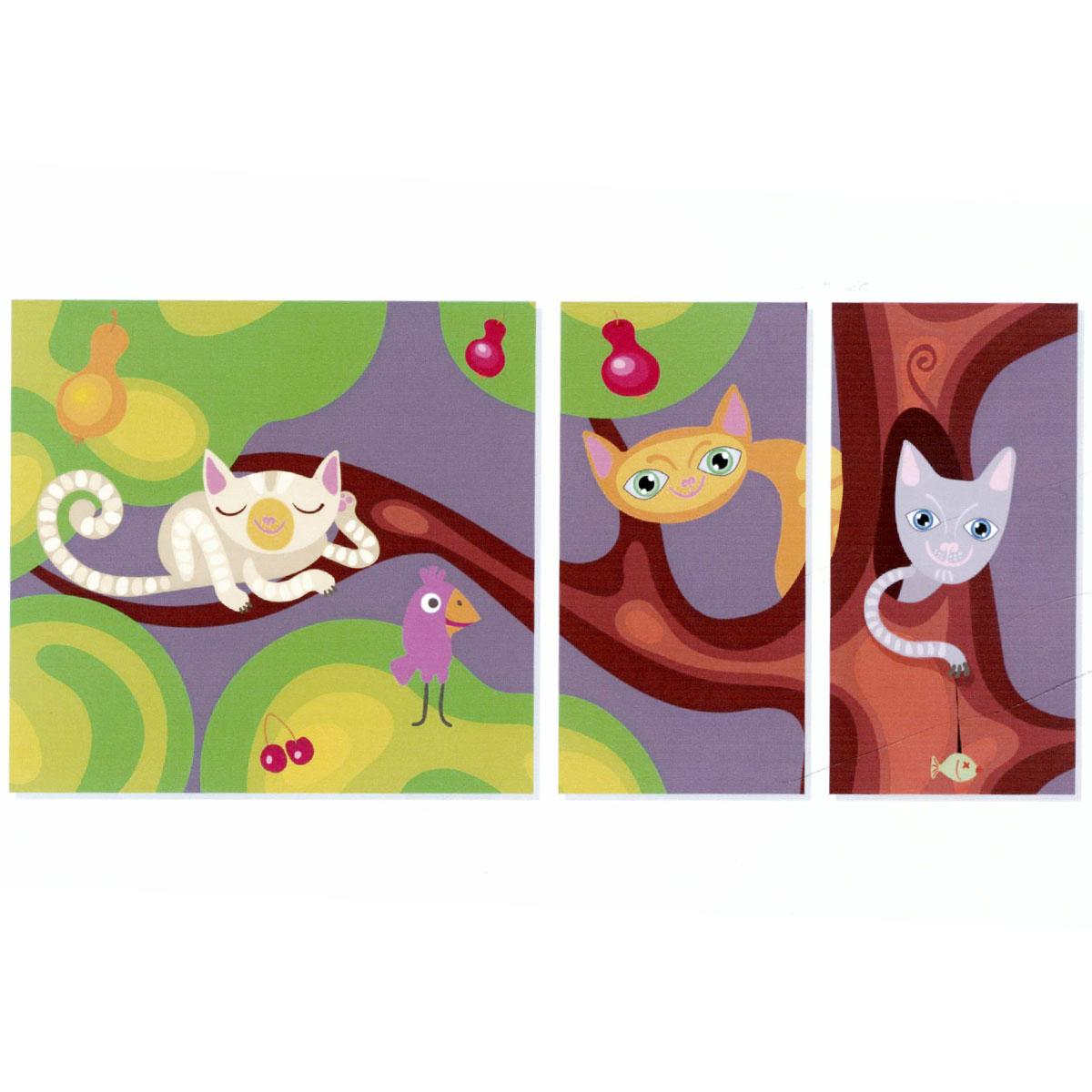 Модульная картина на холсте КвикДекор Цветные кошки, 171 см х 80 смБрелок для ключейМодульная картина на холсте КвикДекор Цветные кошки - это прекрасное решение для декора помещения. Картина состоит из трех частей (модулей) разного размера, объединенных общей тематикой. Изображение переходит из одного модуля в другой. Модули размещаются на расстоянии 2-3 см друг от друга.Латексная печать (без запаха) на натуральном х/б холсте, галерейная натяжка на деревянные подрамники из высококачественной сосны. Такая картина будет потрясающе смотреться в детской комнате. Она сделает обстановку комфортной и уютной, а яркие краски и интересное оформление обязательно понравятся вашему малышу. Картина в стрейч-пленке с защитными картонными уголками упакована в гофрокоробку с термоусадкой. Размер модулей: 85 см х 80 см (1 шт); 40 см х 80 см (2 шт). Количество модулей: 3 шт. Общий размер картины: 171 см х 80 см. Художник: Анна Морозова.