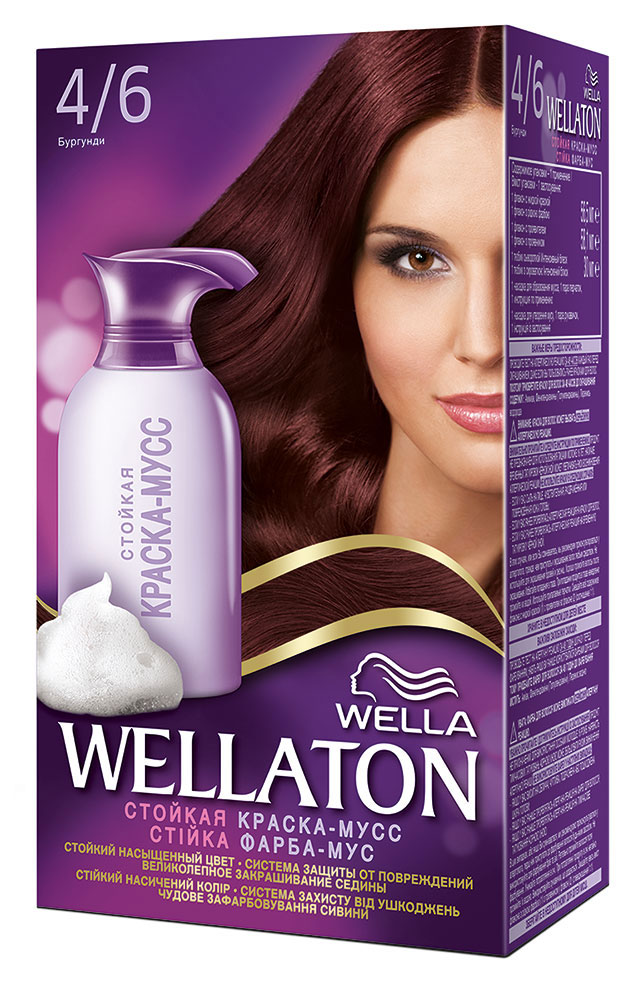Краска-мусс для волос Wellaton 4/6. БургундияMP59.4DСтойкая краска-мусс Wellaton - живой насыщенный цвет и легкое бережное нанесение. Насладитесь живым насыщенным цветом. Краска-мусс обеспечивает бережное нанесение и защиту от подтеков. Она равномерно распределяется по волосам, насыщая каждый волос совершенным цветом. Система защиты от повреждений дарит волосам потрясающий блеск и мягкость шелка благодаря специальной формуле мусса и питательной сыворотке. Такая же стойкость, как привычные краски! 100% закрашивание седины. Характеристики: Номер краски: 4/6. Цвет: бургундия. Объем краски: 56,5 мл. Объем проявителя: 58,1 мл. Объем питательной сыворотки: 30 мл. Производитель: Германия.В комплекте: 1 тюбик с краской, 1 флакон с проявителем, 1 тюбик с питательной сывороткой, 1 пара перчаток, инструкция по применению. Товар сертифицирован.Внимание! Продукт может вызвать аллергическую реакцию, которая в редких случаях может нанести серьезный вред вашему здоровью. Проконсультируйтесь с врачом-специалистом передприменениемлюбых окрашивающих средств.