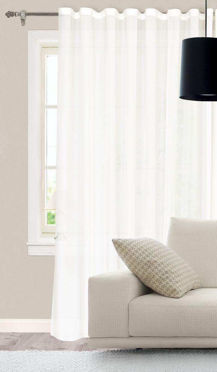 Штора готовая для гостиной Garden, на ленте, цвет: белый, размер 300*260 см. С535898V1SVC-300Изящная тюлевая штора Garden выполнена из высококачественной микровуали (100% полиэстера). Полупрозрачная ткань, приятный цвет привлекут к себе внимание и органично впишутся в интерьер помещения. Такая штора идеально подходит для солнечных комнат. Мягко рассеивая прямые лучи, она хорошо пропускает дневной свет и защищает от посторонних глаз. Отличное решение для многослойного оформления окон. Эта штора будет долгое время радовать вас и вашу семью!Штора крепится на карниз при помощи ленты, которая поможет красиво и равномерно задрапировать верх.