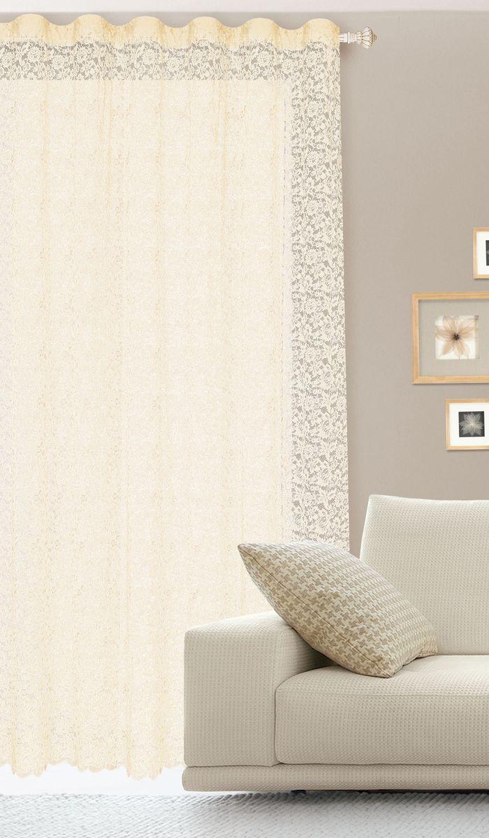 Штора готовая для гостиной Garden, на ленте, цвет: бежевый, размер 300*260 см. С536070V1UN111303115Гипюровая кружевная штора для гостиной Garden выполнена из сетчатой ткани (100% полиэстера) с изящным цветочным принтом. Необычный дизайн, тонкое плетение кружева и нежная цветовая гамма привлекут к себе внимание и органично впишутся в интерьер комнаты. Штора крепится на карниз при помощи ленты, которая поможет красиво и равномерно задрапировать верх. Штора Garden великолепно украсит любое окно.Стирка при температуре 30°С.