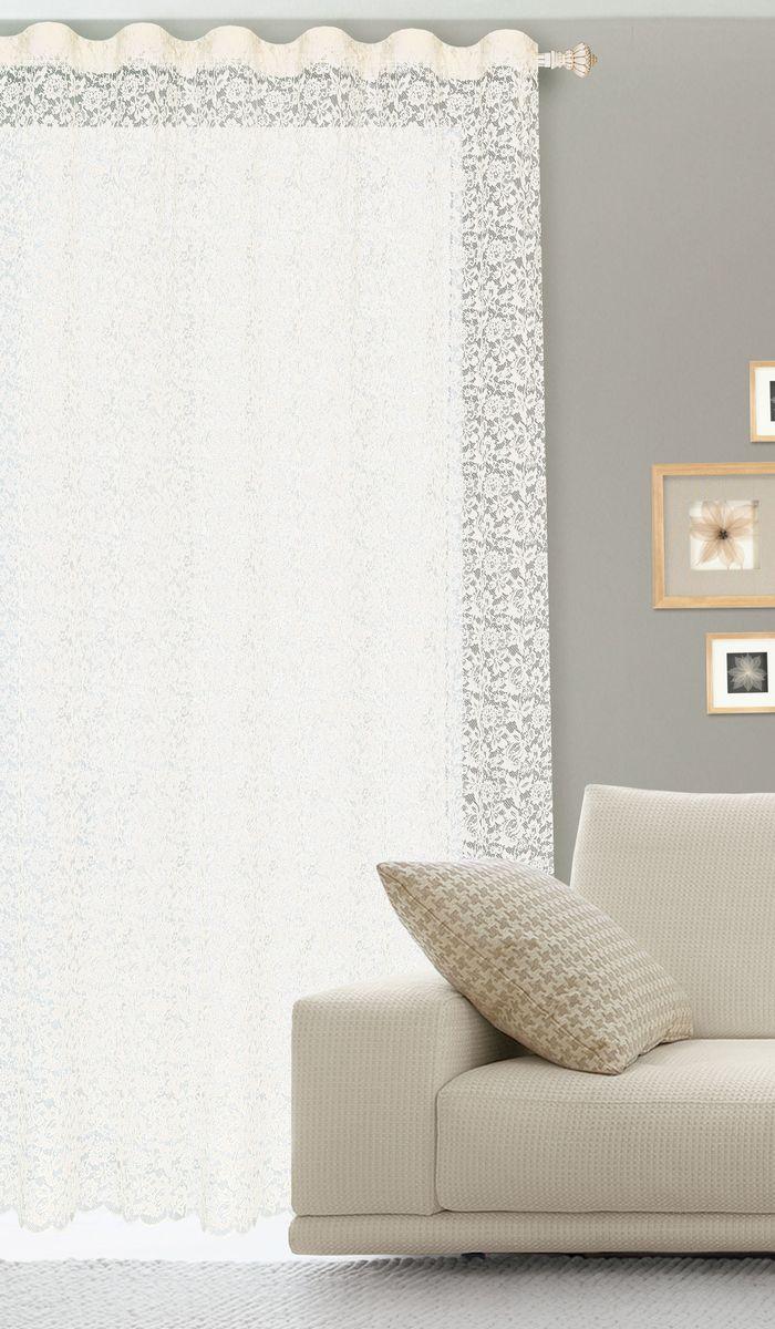 Штора готовая для гостиной Garden, на ленте, цвет: белый, размер 300* 260 см. С536070V4K100Гипюровая кружевная штора для гостиной Garden выполнена из сетчатой ткани (100% полиэстера) с изящным цветочным принтом. Необычный дизайн, тонкое плетение кружева и нежная цветовая гамма привлекут к себе внимание и органично впишутся в интерьер комнаты. Штора крепится на карниз при помощи ленты, которая поможет красиво и равномерно задрапировать верх. Штора Garden великолепно украсит любое окно.Стирка при температуре 30°С.