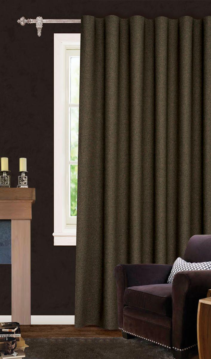 Штора готовая для гостиной Garden, на ленте, цвет: коричневый, размер 200*260 см. С537067V11SVC-300Роскошная светонепроницаемая портьерная штора Garden выполнена из ткани рогожка (100% полиэстера). Материал плотный и мягкий на ощупь.Оригинальная текстура ткани и спокойная цветовая гамма привлекут к себе внимание и органично впишутся в интерьер помещения.Эта штора будет долгое время радовать вас и вашу семью!Штора крепится на карниз при помощи ленты, которая поможет красиво и равномерно задрапировать верх. Стирка при температуре 30°С.