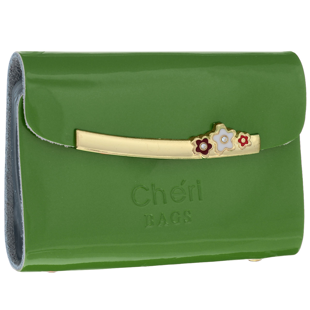 Визитница женская Cheribags, цвет: зеленый. V-0494-14993224Элегантная визитница Cheribags изготовлена из натуральной лаковой кожи и декорирована тисненым названием бренда спереди. Лицевая сторона украшена декоративным элементом из металла с цветами. Изделие закрывается клапаном на кнопку. Внутри - блок из прозрачного мягкого пластика на 26 визиток, который крепится к корпусу визитницы на металлические заклепки.Стильная визитница - это не только практичная вещь для хранения пластиковых карт, но и модный аксессуар, который подчеркнет ваш неповторимый стиль.