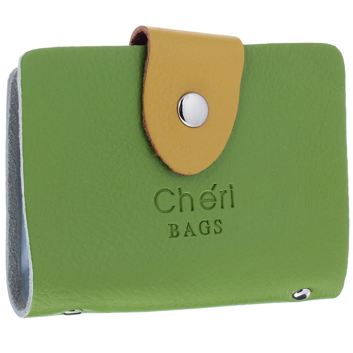 Визитница Cheribags, цвет: зеленый, желтый. V-0498-14B16-11416Трендовая визитница Cheribags изготовлена из натуральной кожи и декорирована тисненым названием бренда спереди. Изделие закрывается хлястиком на кнопку. Внутри - блок из прозрачного мягкого пластика на 26 визиток, который крепится к корпусу визитницы на металлические заклепки.Стильная визитница - это не только практичная вещь для хранения пластиковых карт, но и модный аксессуар, который подчеркнет ваш неповторимый стиль.