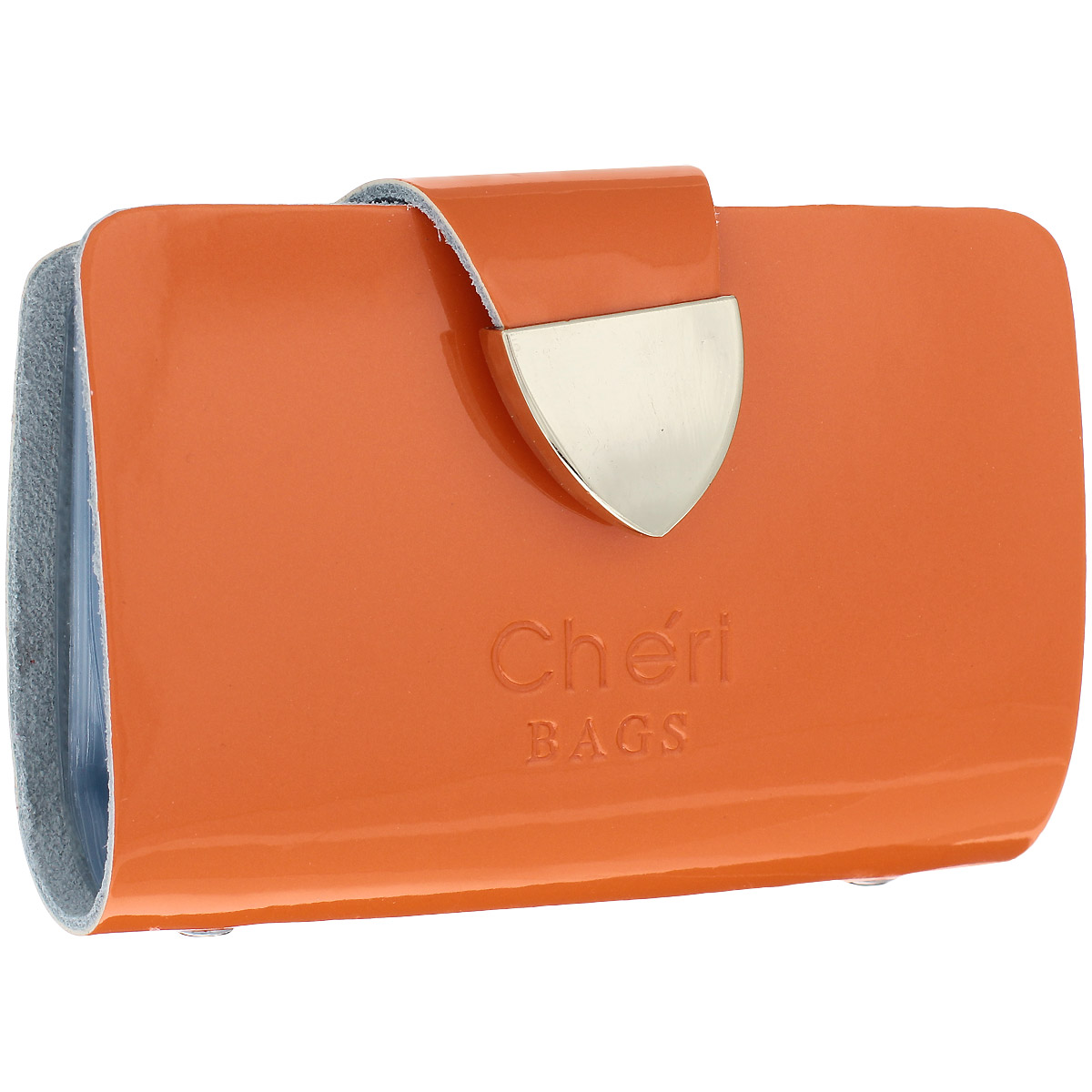 Визитница Cheribags, цвет: оранжевый. V-0482-22W16-11128_323Изысканная визитница Cheribags изготовлена из натуральной лаковой кожи и декорирована тисненым названием бренда спереди. Изделие закрывается хлястиком, оформленным металлической пластиной, на кнопку. Внутри - блок из прозрачного мягкого пластика на 26 визиток, который крепится к корпусу визитницы на металлические заклепки.Стильная визитница - это не только практичная вещь для хранения пластиковых карт, но и модный аксессуар, который подчеркнет ваш неповторимый стиль.