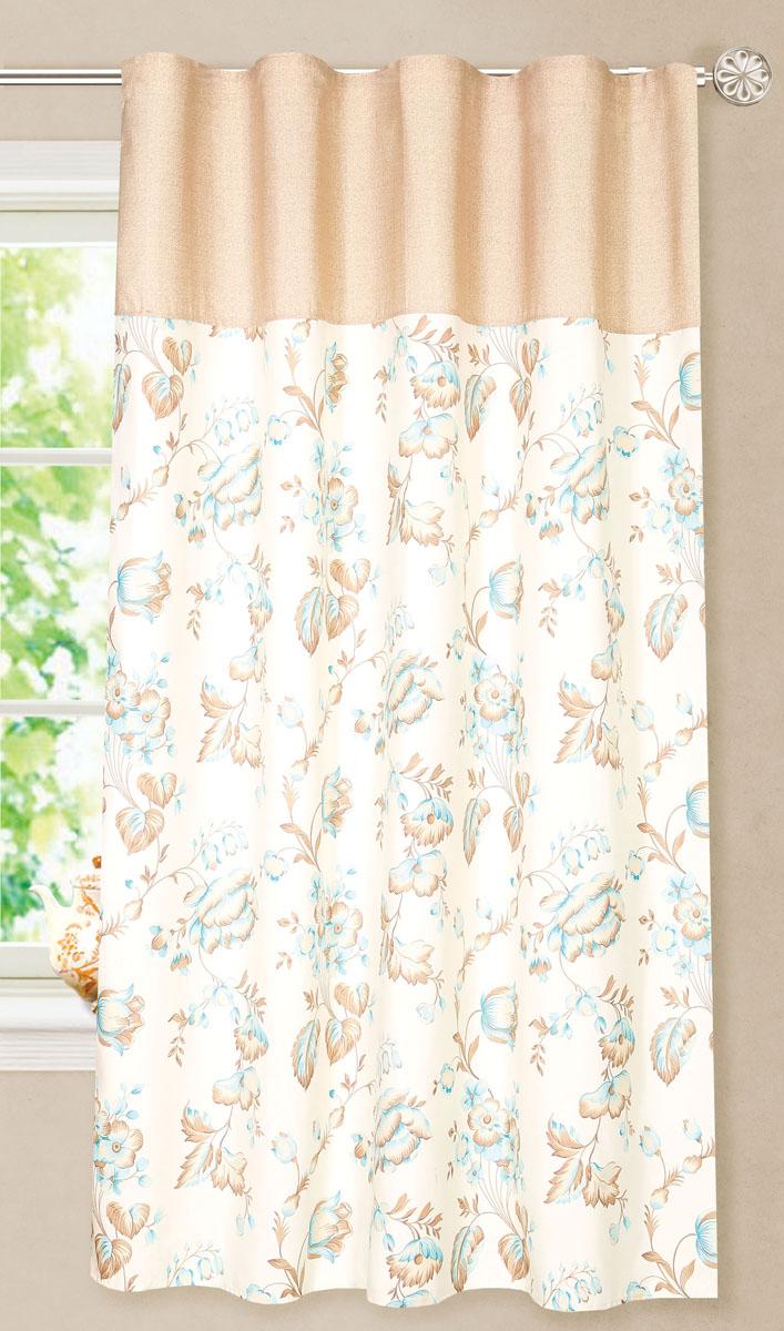 Штора готовая для кухни Garden, на ленте, цвет: бежевый, голубой, размер 180 см. С8172-W1687-W1687V5S03301004Элегантная портьерная штора Garden выполнена из ткани репс (полиэстер). Плотная ткань, приятная цветовая гамма, цветочный принт привлекут к себе внимание и органично впишутся в интерьер помещения.Эта штора будет долгое время радовать вас и вашу семью!Штора крепится на карниз при помощи ленты, которая поможет красиво и равномерно задрапировать верх.