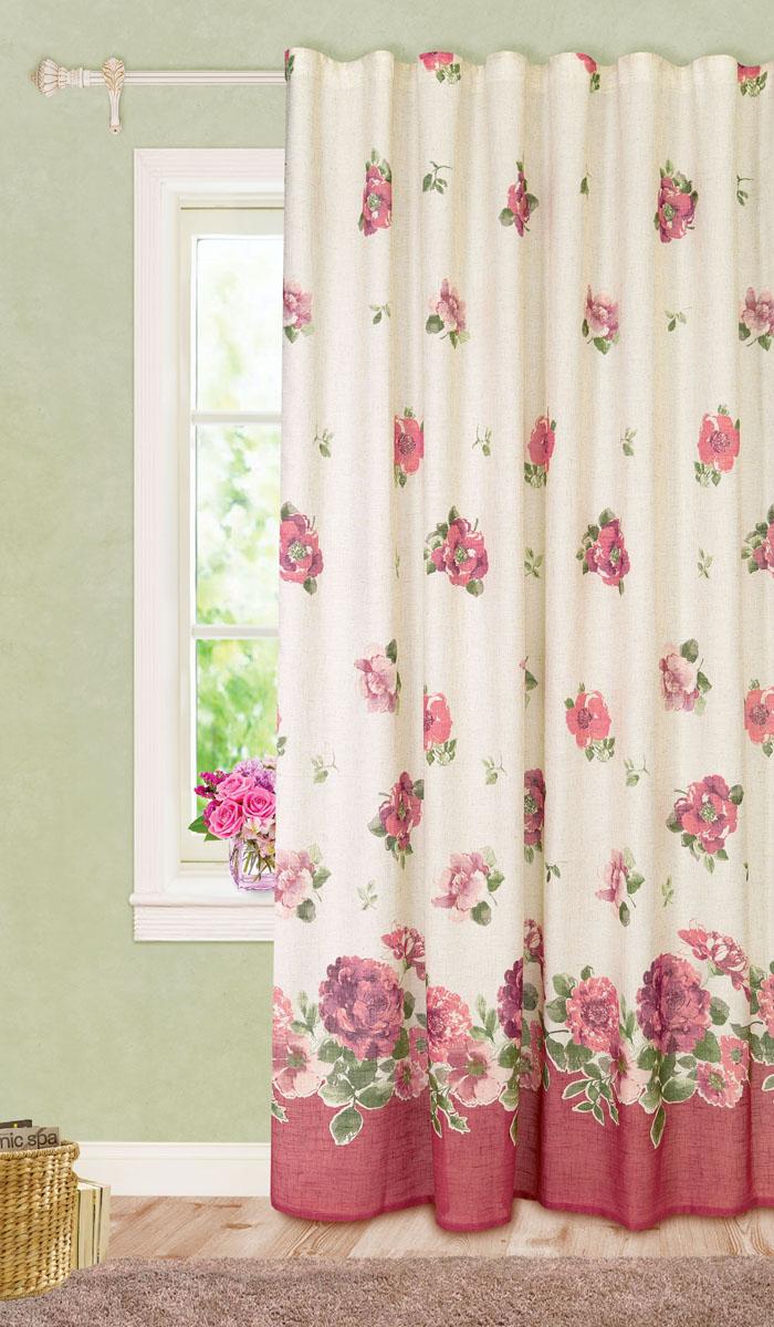 Штора готовая для гостиной Garden, на ленте, цвет: темно-розовый, размер 200*280 см. С10229-W1222V8SVC-300Роскошная портьерная штора Garden выполнена из ткани рогожка (93% полиэстера и 7% льна). Материал плотный и мягкий на ощупь.Оригинальная текстура ткани и изящный цветочный принт привлекут к себе внимание и органично впишутся в интерьер помещения.Эта штора будет долгое время радовать вас и вашу семью!Штора крепится на карниз при помощи ленты, которая поможет красиво и равномерно задрапировать верх. Стирка при температуре 30°С.