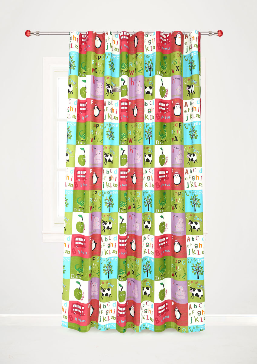 Штора готовая для гостиной Garden, на ленте, цвет: красный, зеленый, размер 200* 260 см. С10238-W1935V7StormРоскошная портьерная штора Garden выполнена из сатина (100% полиэстера). Материал плотный и мягкий на ощупь.Оригинальная текстура ткани и яркие изображения животных, букв алфавита, фруктов привлекут к себе внимание и органично впишутся в интерьер помещения.Эта штора будет долгое время радовать вас и вашу семью!Штора крепится на карниз при помощи ленты, которая поможет красиво и равномерно задрапировать верх. Стирка при температуре 30°С.