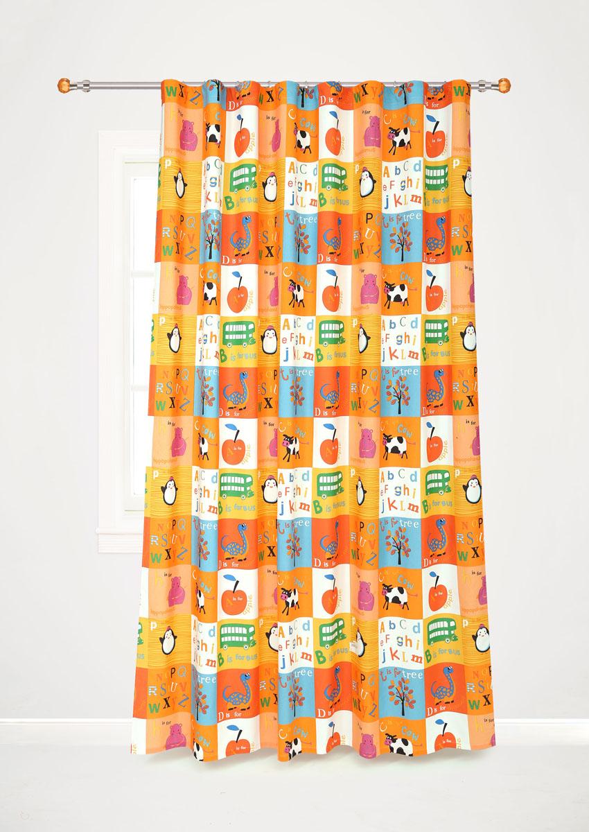 Штора готовая для гостиной Garden, на ленте, цвет: оранжевый, размер 200*260 см. С10238-W1935V8StormРоскошная портьерная штора Garden выполнена из сатина (100% полиэстера). Материал плотный и мягкий на ощупь.Оригинальная текстура ткани и яркие изображения животных, букв алфавита, фруктов привлекут к себе внимание и органично впишутся в интерьер помещения.Эта штора будет долгое время радовать вас и вашу семью!Штора крепится на карниз при помощи ленты, которая поможет красиво и равномерно задрапировать верх. Стирка при температуре 30°С.