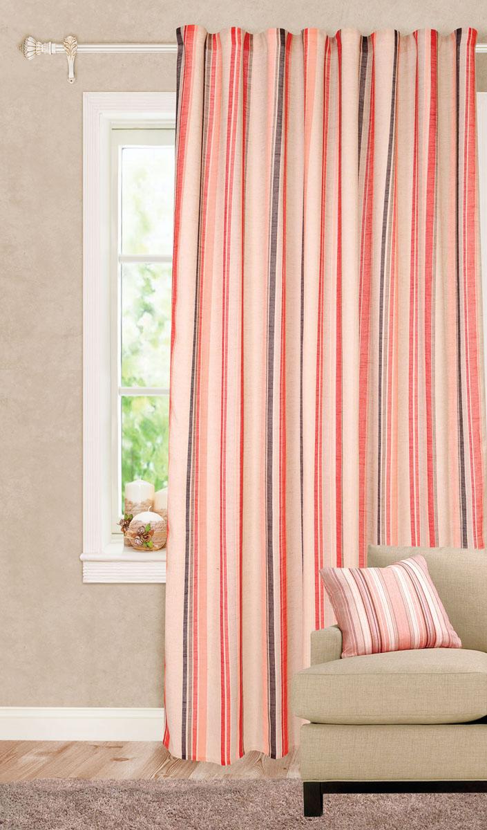 Штора готовая для гостиной Garden Decorato, на ленте, цвет: красный, размер 200*280 см. С 8178 - W1222 V19K100Роскошная портьерная штора Garden Decorato выполнена из ткани рогожка (93% полиэстера и 7% льна) с печатью. Материал плотный и мягкий на ощупь.Оригинальная текстура ткани и яркий принт в полоску привлекут к себе внимание и органично впишутся в интерьер помещения.Эта штора будет долгое время радовать вас и вашу семью!Штора крепится на карниз при помощи ленты, которая поможет красиво и равномерно задрапировать верх.