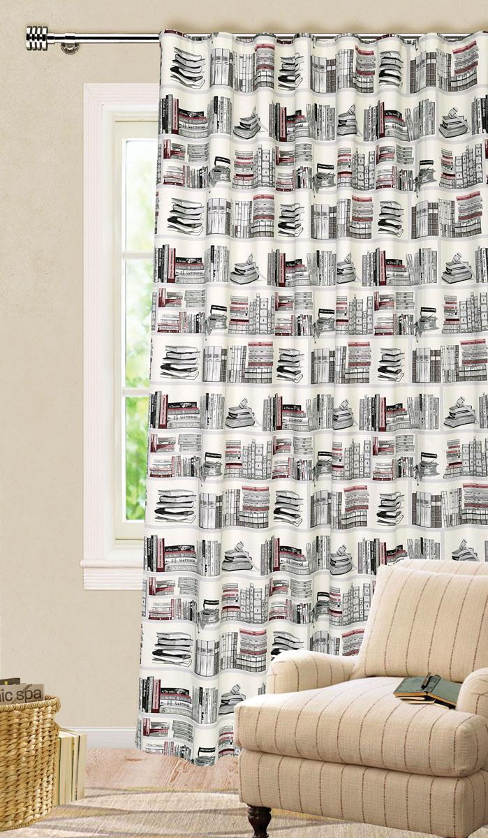 Штора готовая для гостиной Garden, на ленте, цвет: серый, черный, размер 200*280 см. С9154-W1687V2GC013/00Роскошная штора-портьера Garden выполнена из ткани репс (100% полиэстера). Материал плотный и мягкий на ощупь.Оригинальная текстура ткани и яркие изображения книг привлекут к себе внимание и органично впишутся в интерьер помещения.Эта штора будет долгое время радовать вас и вашу семью!Штора крепится на карниз при помощи ленты, которая поможет красиво и равномерно задрапировать верх. Стирка при температуре 30°С.