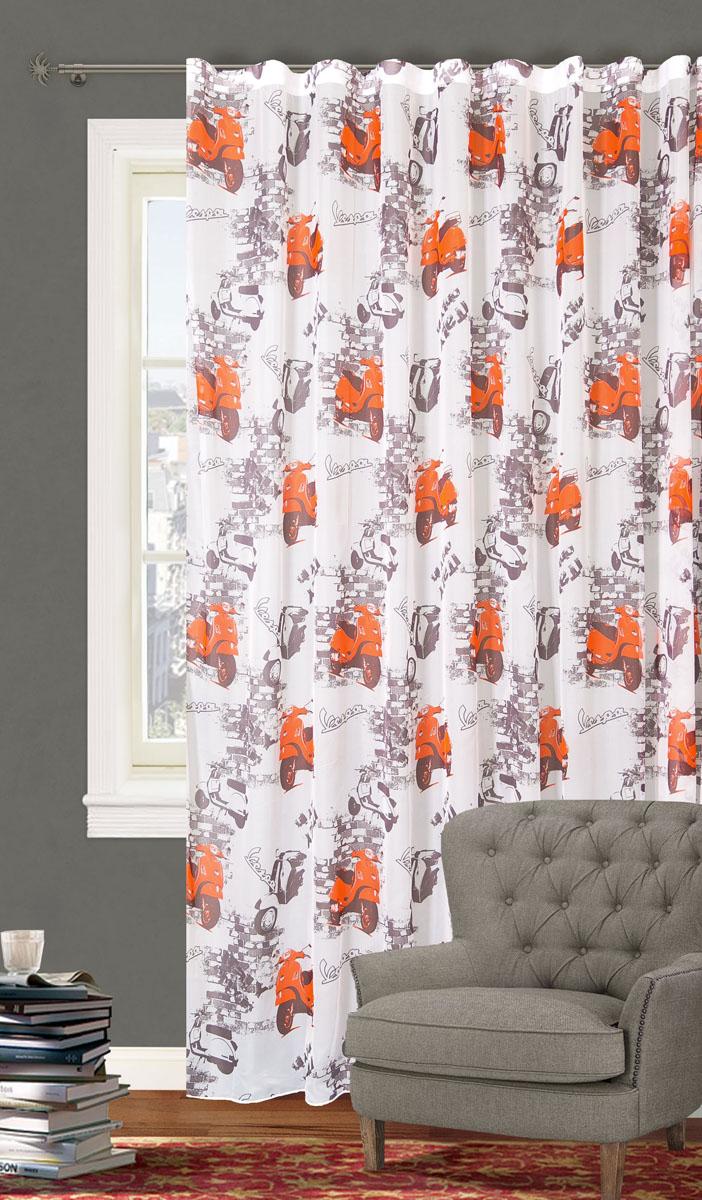 Штора готовая для гостиной Garden, на ленте, цвет: серый, красный, размер 300*260 см. С 5314 - W191 V519201Роскошная тюлевая штора Garden выполнена из вуали (100% полиэстера). Материал мягкий на ощупь.Оригинальная текстура ткани и яркие изображения мотоцикла привлекут к себе внимание и органично впишутся в интерьер помещения.Эта штора будет долгое время радовать вас и вашу семью!Штора крепится на карниз при помощи ленты, которая поможет красиво и равномерно задрапировать верх. Стирка при температуре 30°С.