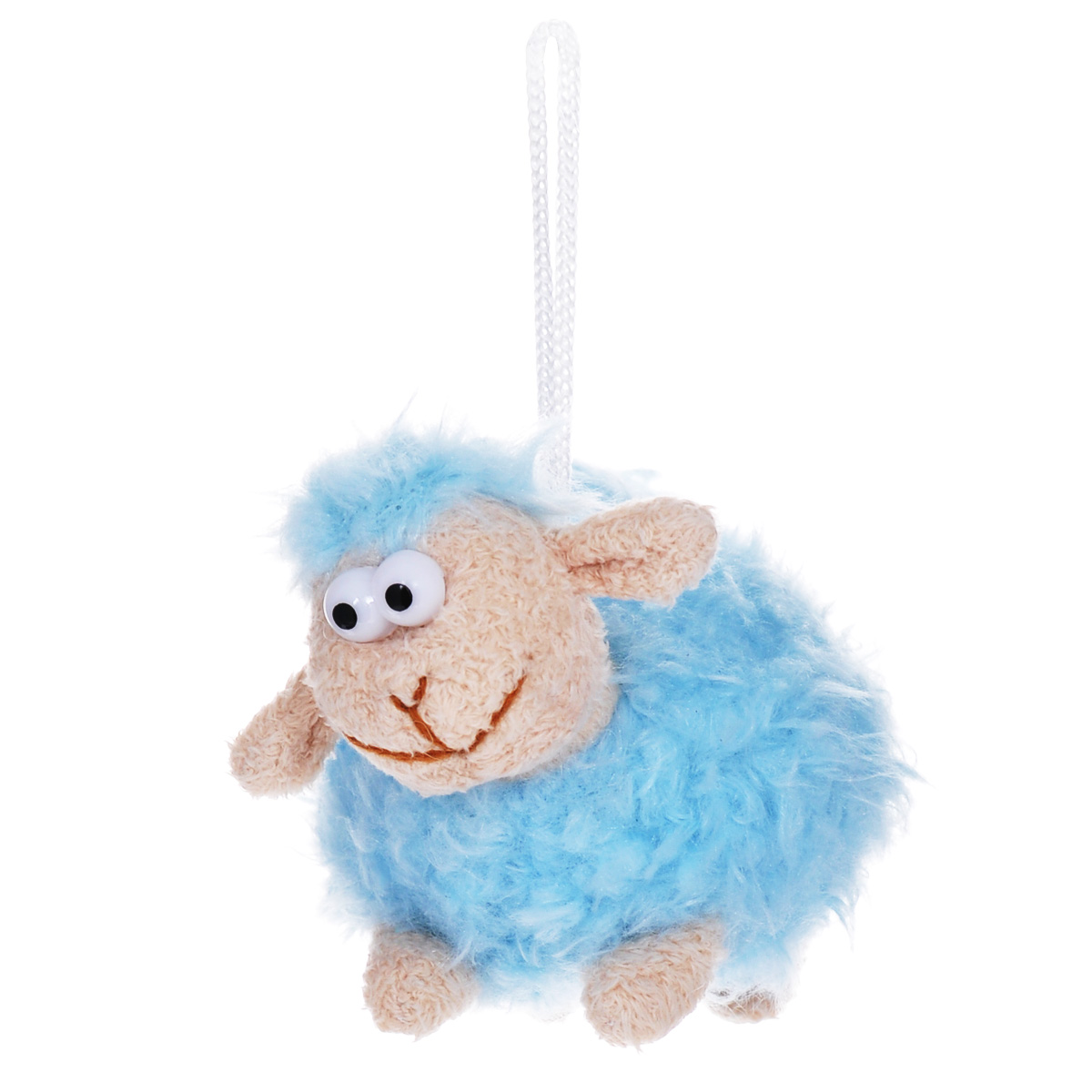 Мягкая игрушка-подвеска Sima-land Овечка, цвет: голубой, 8 см. 332801826734Очаровательная мягкая игрушка-подвеска Sima-land Овечка не оставит вас равнодушным и вызовет улыбку у каждого, кто ее увидит. Игрушка выполнена из искусственного меха и текстиля в виде забавной овечки с выпуклыми глазами. К игрушке прикреплена текстильная петелька для подвешивания. Мягкая и приятная на ощупь игрушка станет замечательным подарком, который вызовет массу положительных эмоций.Размер игрушки: 115 мм х 70 мм х 80 мм.