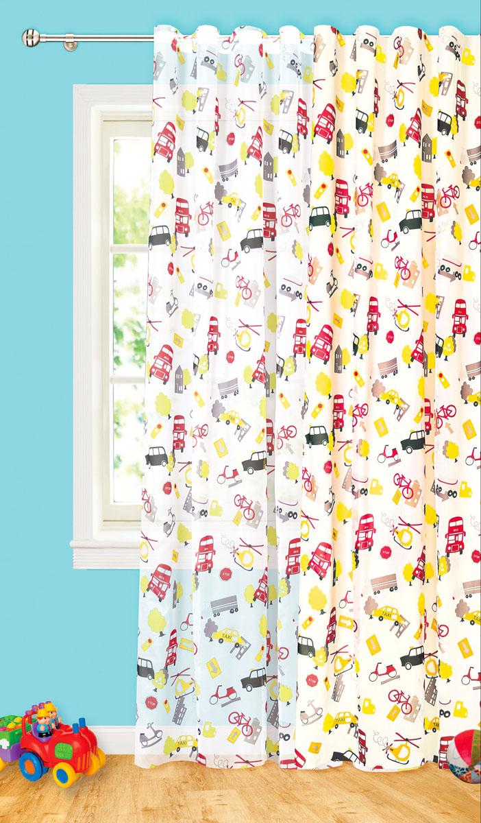 Штора готовая Машины, на ленте, цвет: белый, желтый, красный, размер 200* 260 см. С 8187 - W1936 V1С 8187 - W1936 V1Изящная портьерная штора Garden Машины выполнена из высококачественного сатина (100% полиэстера) с печатью. Плотная ткань, приятный цвет привлекут к себе внимание. Оригинальная текстура ткани и необычный рисунок в городском мотиве привлекут к себе внимание и органично впишутся в интерьер помещения.Эта штора будет долгое время радовать вас и вашу семью!Штора крепится на карниз при помощи ленты, которая поможет красиво и равномерно задрапировать верх.