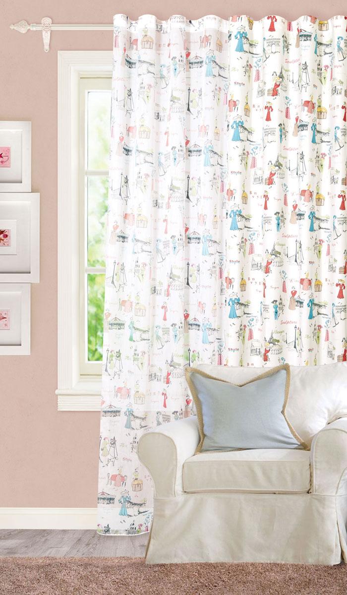 Штора готовая для гостиной Garden, на ленте, цвет: голубой, белый, красный, размер 300*260 см. С 8189 - W356 V1S03301004Роскошная тюлевая штора Garden выполнена из микро батиста (100% полиэстера).Оригинальная текстура ткани и изображения элегантных дам привлекут к себе внимание и органично впишутся в интерьер помещения.Эта штора будет долгое время радовать вас и вашу семью!Штора крепится на карниз при помощи ленты, которая поможет красиво и равномерно задрапировать верх. Стирка при температуре 30°С.
