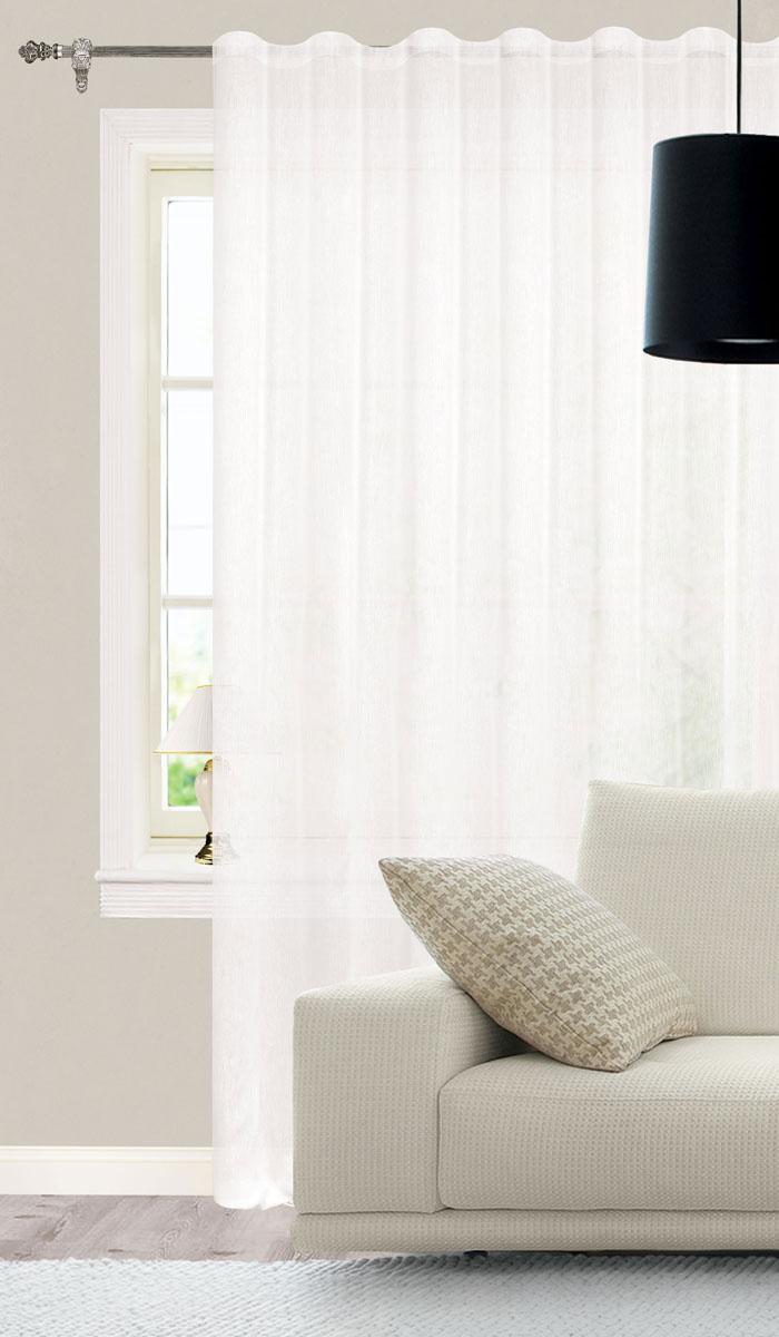 Штора готовая для гостиной Garden, на ленте, цвет: белый, размер 300* 260 см. СW1741V70000DW90Изящная тюлевая штора Garden выполнена из структурной органзы (полиэстера). Полупрозрачная ткань, приятный цвет привлекут к себе внимание и органично впишутся в интерьер помещения. Такая штора идеально подходит для солнечных комнат. Мягко рассеивая прямые лучи, она хорошо пропускает дневной свет и защищает от посторонних глаз. Отличное решение для многослойного оформления окон. Эта штора будет долгое время радовать вас и вашу семью!Штора крепится на карниз при помощи ленты, которая поможет красиво и равномерно задрапировать верх.