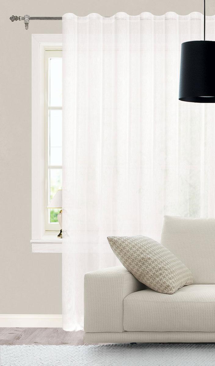 Штора готовая для гостиной Garden, на ленте, цвет: белый, размер 300*260 см. С W356 V70000S03301004Роскошная тюлевая штора Garden выполнена из микро батиста (100% полиэстера). Материал плотный и мягкий на ощупь.Оригинальная текстура ткани и нежная цветовая гамма привлекут к себе внимание и органично впишутся в интерьер помещения.Эта штора будет долгое время радовать вас и вашу семью!Штора крепится на карниз при помощи ленты, которая поможет красиво и равномерно задрапировать верх. Стирка при температуре 30°С.