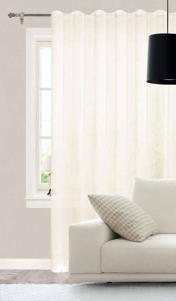 Штора готовая для гостиной Garden, на ленте, цвет: светло-бежевый, размер 300*260 см. С W356 V71002SVC-300Роскошная тюлевая штора Garden выполнена из микро батиста (100% полиэстера). Материал плотный и мягкий на ощупь.Оригинальная текстура ткани и нежная цветовая гамма привлекут к себе внимание и органично впишутся в интерьер помещения.Эта штора будет долгое время радовать вас и вашу семью!Штора крепится на карниз при помощи ленты, которая поможет красиво и равномерно задрапировать верх. Стирка при температуре 30°С.