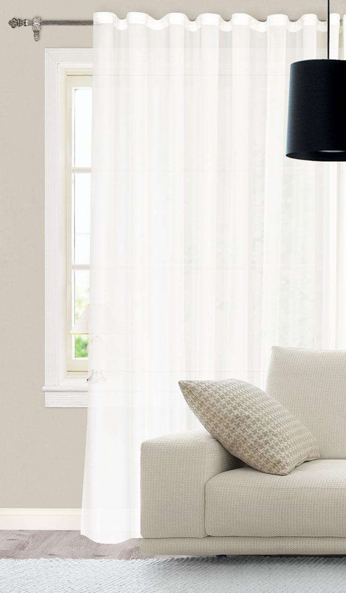 Штора для гостиной Garden, на ленте, цвет: молочный, размер 300*260 см. С W394 V71002SVC-300Готовая тюлевая штора для гостиной Garden выполнена из батиста (100% полиэстер) молочного цвета. Полупрозрачность материала, вуалевая текстура и нежная цветовая гамма привлекут к себе внимание и органично впишутся в интерьер комнаты. Штора крепится на карниз при помощи ленты, которая поможет красиво и равномерно задрапировать верх. Штора Garden великолепно украсит любое окно.Стирка при температуре 30°С.