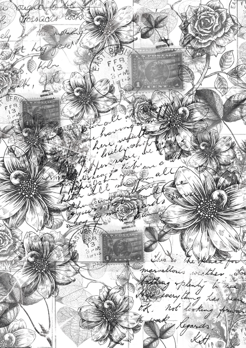 Калька для скрапбукинга Винтажные георгины и розы, 21 х 30 см