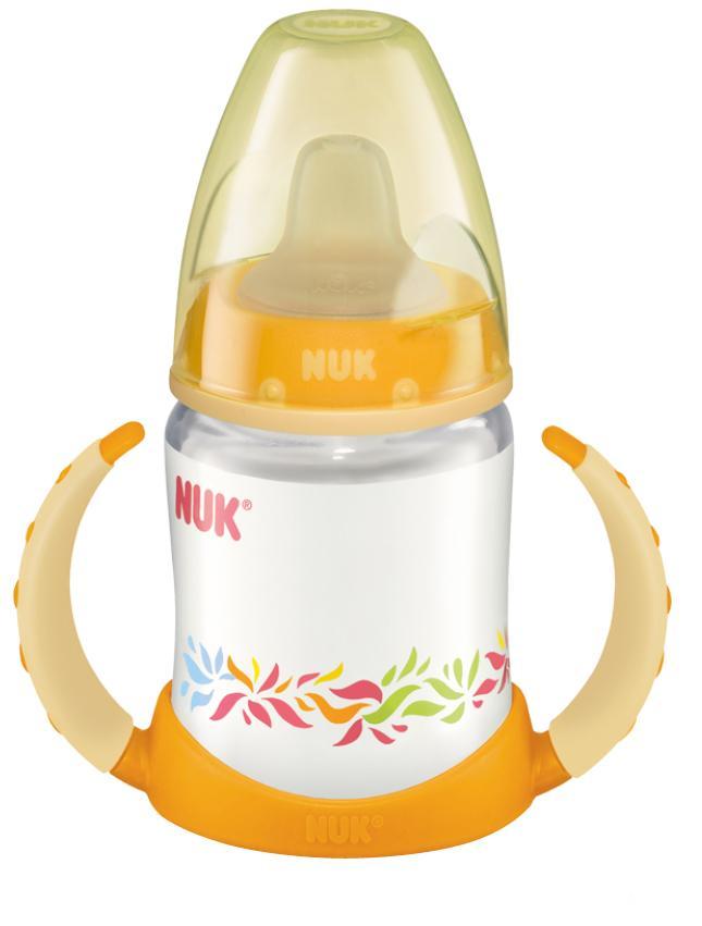 """Бутылочка-поильник NUK """"First Choice"""", с резиновым носиком, 150 мл, от 6 месяцев, цвет: оранжевый, Mapa GmbH."""