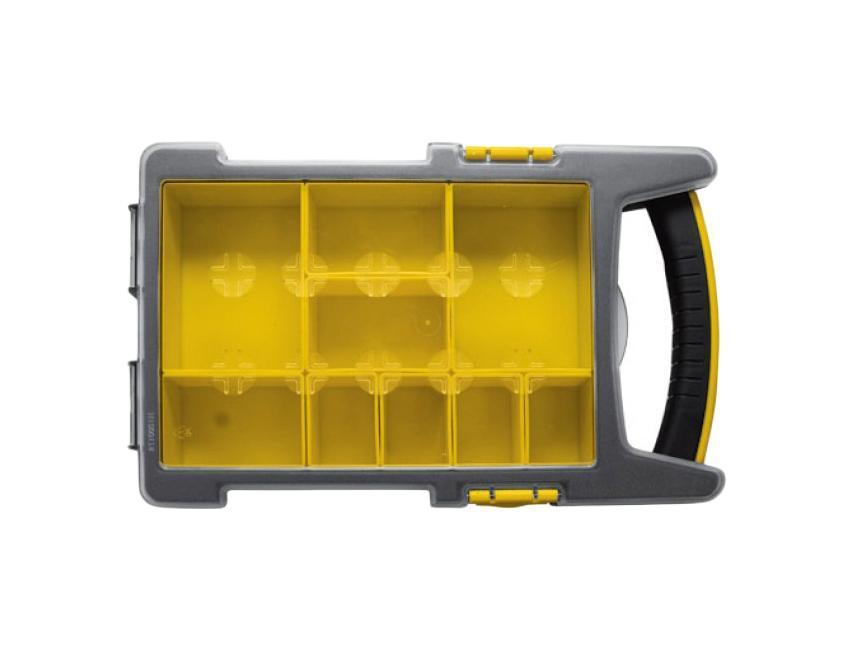 Ящик для крепежа FIT, 34 х 20 х 6 см2706 (ПО)Ящик-органайзер FIT 65648 выполнен из пластика и служит для хранения и транспортировки крепежных изделий. Имеет несколько отделений, где удобно размещаются необходимые аксессуары и различные мелочи. С помощью переставных перегородок можно регулировать размеры ячеек, чтобы максимально эффективно использовать имеющееся внутри пространство. Прозрачная крышка позволяет видеть расположение крепежа внутри. Наличие рукоятки обеспечивает комфортную переноску ящика. Рекомендуется для использования домашнему мастеру.