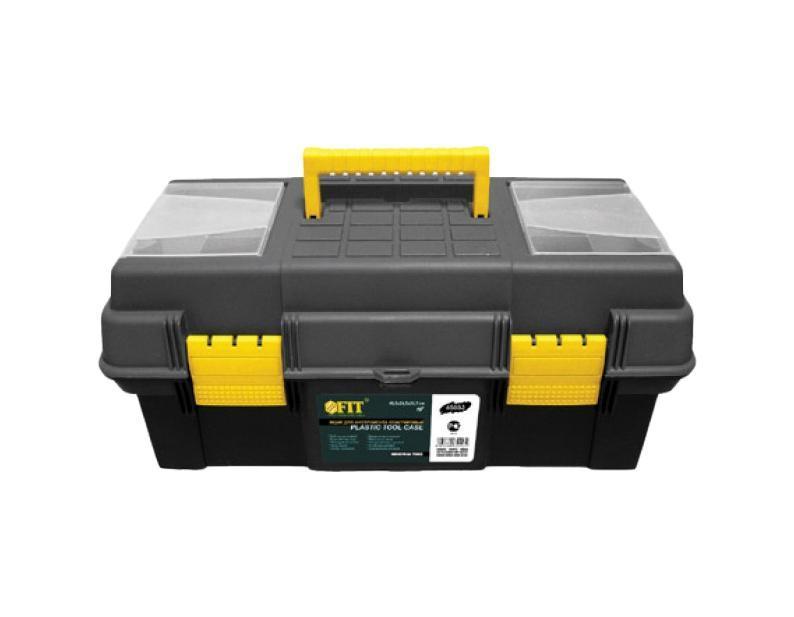 Ящик для инструмента FIT пластиковый, цвет: черный, желтый, 16Аксион Т-33Ящик для инструментов FIT 65552 предназначен для хранения и переноски инструмента. Его корпус изготовлен из прочного пластика. Имеется подвижный лоток и два съемных органайзера. Усиленная рукоятка обеспечивает надежную транспортировку инструментов. Характеристики: Материал: пластик. Размеры ящика: 41 см x 21 см x 18,5 см.Размер двух отделений органайзера: 7 см x 4 см x 3 см.Размер одного отделения органайзера: 14 см x 4 см x 3 см.Размер внутреннего отделения: 37 см x 17 см x 11 см.Размеры лотка: 37 см x 17 см x 8 см. Размер упаковки: 41 см x 21 см x 18,5 см.