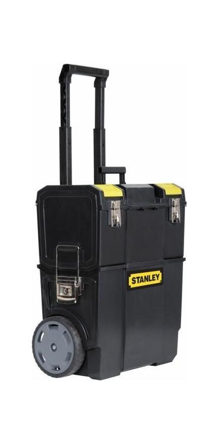 Ящик с колесами Mobile Work Center 2 в 180621Ящик для инструментов Stanley 1-70-327 оптимизируют хранение, позволяя расположить все необходимые для проведения работ инструменты, так как вам удобно. Благодаря ящику каждый инструмент будет находится на своем месте. Конструкция ящика представляет собой универсальное решение для хранения инструментов различной формы, а также мелких деталей. Stanley 1-70-327 содержит съемный верхний ящик с отделением для хранения мелких деталей в крышке, съемную среднюю секцию для мелких деталей и аксессуаров. Также в ящике есть большое нижнее отделение, отделение большого объема для электроинструментов, а также секции для ручного инструмента, мелких деталей и аксессуаров. С помощью съемного лотка для наиболее часто используемого инструмента вы сможете перемещать только небольшую часть необходимых на данный момент инструментов. Легкость перемещения всего ящика в целом обеспечивается колесами диаметром 7 дюймов (178 мм), и удобной ручкой. Материал: пластик