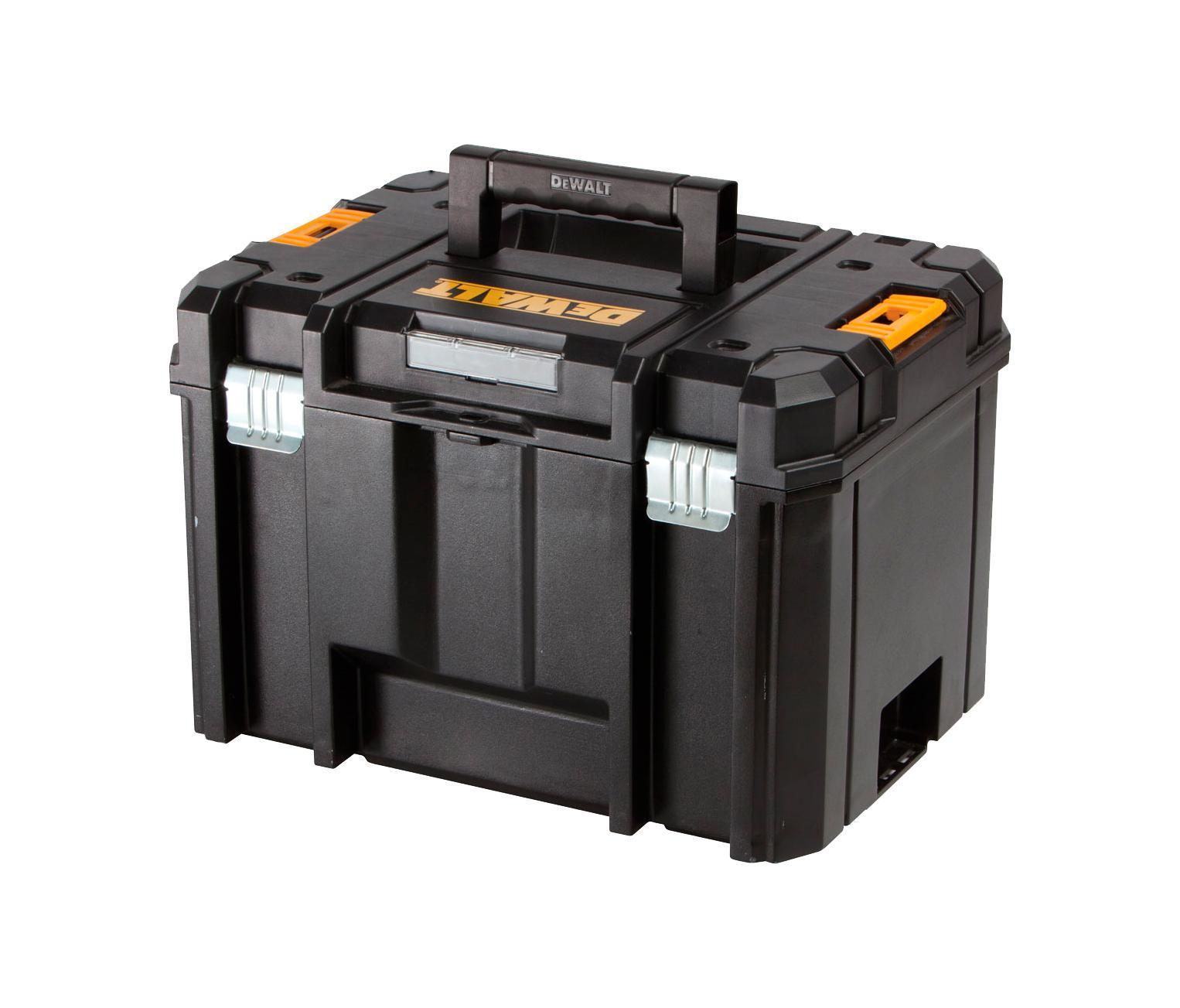 Ящик для инструмента DeWalt Tstak, глубокий, 23 л2706 (ПО)Ящик для инструментов STANLEY DEWALT TSTAK DWST1-71195 — это отличный ящик с дополнительными креплениями. Ящик сделан из пластмассы. В ящике вы найдете маленькие отделения для шурупов, винтов, гвоздей, бит, сверел и прочей мелочи. Этот ящик совмещает систему хранения и удобной транспортировки инструментов. Безопасная система фиксации ящиков и защиты от воды, пыли и грязи точно порадует вас. Ящики можно комбинировать и использовать только необходимые в конкретный момент.