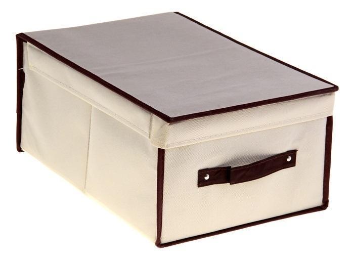 контейнер для хранения(жёсткий)45*30*20см,бежевый 83912723Декоративный контейнер - отличный способ для хранение вещей!Благодаря универсальности изделия, в контейнере можно хранить самые разнообразные вещи: бижутерию, лекарства, швейные принадлежности.Такой контейнер поможет держать вещи в порядке. Декоративный контейнер даст Вам возможность сохранить все в одном месте, а также защитить вещи от пыли, грязи и влаги. Материал: флизелин,картон