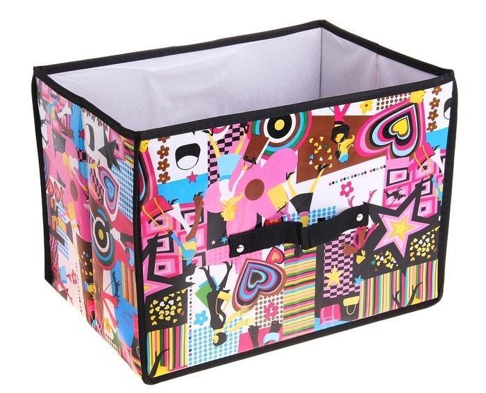 контейнер для хранения(жёсткий корпус) Модница 37*27*27см 709726a030073Декоративный контейнер - отличный способ для хранение вещей!Благодаря универсальности изделия, в контейнере можно хранить самые разнообразные вещи: бижутерию, лекарства, швейные принадлежности.Такой контейнер поможет держать вещи в порядке. Декоративный контейнер даст Вам возможность сохранить все в одном месте, а также защитить вещи от пыли, грязи и влаги. Материал: Клеёнка на флизелине,картон