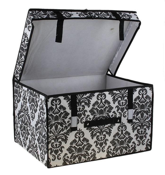 контейнер для хранения(жёсткий) 50*40*30см,бело-чёрный 70974510850/1W GOLD IVORYДекоративный контейнер - отличный способ для хранение вещей!Благодаря универсальности изделия, в контейнере можно хранить самые разнообразные вещи: бижутерию, лекарства, швейные принадлежности.Такой контейнер поможет держать вещи в порядке. Декоративный контейнер даст Вам возможность сохранить все в одном месте, а также защитить вещи от пыли, грязи и влаги. Материал: Флизелин,картон