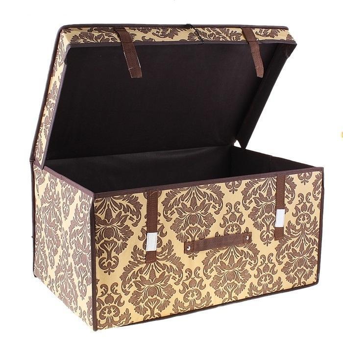 контейнер для хранения(жёсткий) 60*40*30см,коричневый 709750FS-80418Декоративный контейнер - отличный способ для хранение вещей!Благодаря универсальности изделия, в контейнере можно хранить самые разнообразные вещи: бижутерию, лекарства, швейные принадлежности.Такой контейнер поможет держать вещи в порядке. Декоративный контейнер даст Вам возможность сохранить все в одном месте, а также защитить вещи от пыли, грязи и влаги. Материал: Флизелин,картон