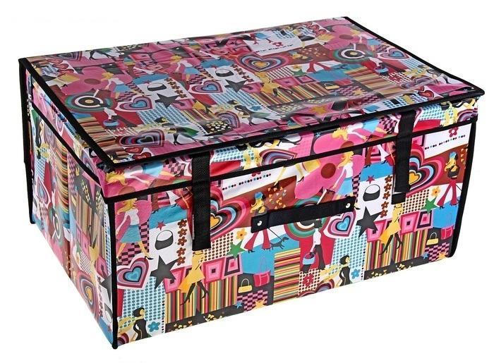 контейнер для хранения(жёсткий) Модница 60*40*30см 70975512723Декоративный контейнер - отличный способ для хранение вещей!Благодаря универсальности изделия, в контейнере можно хранить самые разнообразные вещи: бижутерию, лекарства, швейные принадлежности.Такой контейнер поможет держать вещи в порядке. Декоративный контейнер даст Вам возможность сохранить все в одном месте, а также защитить вещи от пыли, грязи и влаги. Материал: Клеёнка на флизелине,картон