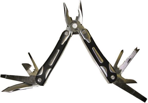 Мультитул Stinger MT-3207, цвет: серебристый, черный, 9 инструментовMT-3207Stinger MT-3207 - мультитул, который выполнен по современным технологиям из прочной стали. Он имеет стильный дизайн и эргономичную рукоятку. Stinger MT-3207 содержит в себе 9 инструментов со следующими функциями: большое лезвие, маленькое лезвие, крестовая отвертка, отвертка 6 мм, шило, отвертка 3 мм, открывалка, плоскогубцы, пилка. Характеристики: Материал: металл, пластик. Длина большого лезвия: 6,5 см. Длина маленького лезвия: 3 см. Размер мультитула в сложенном виде: 10,5 см х 4 см х 2 см. Размер в упаковке: 14,5 см х 7,5 см х 3,8 см.