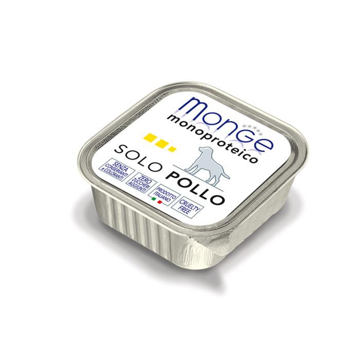 Консервы для собак Monge Monoproteico Solo, паштет из курицы, 150 г0120710Консервы для собак Monge Monoproteico Solo - монобелковый паштет с курицей для собак. Состав: свежая курица (соответствует 100% использованного мяса), минеральные вещества, витамины. В данном продукте нет клейковины, красителей, консервантов, а также глютена. Технологические добавки: загустители и желирующие вещества. Анализ компонентов: сырой белок 8%, сырые масла и жиры 6%, сырая клетчатка 0,5%, сырая зола 1,5%, влажность 80%. Витамины и добавки на 1 кг: витамин А 2500 МЕ, витамин D3 300 МЕ, витамин Е 7 мг. Товар сертифицирован.