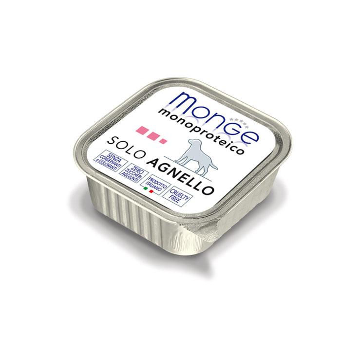 Консервы для собак Monge Monoproteico Solo, паштет из ягненка, 150 г0120710Консервы для собак Monge Monoproteico Solo - монобелковый паштет с мясом ягненка для собак. Состав: свежая баранина (соответствует 100% использованного мяса), минеральные вещества, витамины. В данном продукте нет клейковины, красителей, консервантов, а также глютена. Технологические добавки: загустители и желирующие вещества. Анализ компонентов: сырой белок 9,8%, сырые масла и жиры 5,8%, сырая клетчатка 0,5%, сырая зола 1%, влажность 80%. Витамины и добавки на 1 кг: витамин А 2500 МЕ, витамин D3 300 МЕ, витамин Е 7 мг. Товар сертифицирован.
