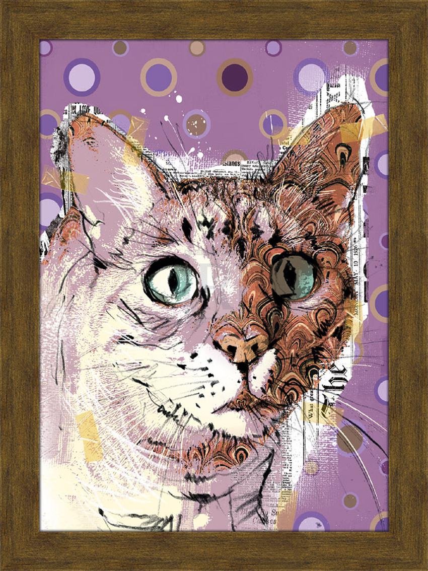 Портрет кота с бирюзовыми глазами. 30см х 40смPARIS 75015-8C ANTIQUEПостер, в глянцевой ламинации, и пластиковой раме.