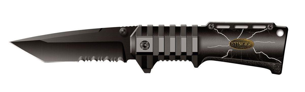 Нож складной Stinger SA-574BS, цвет: черный, 9 см6900000431849Складной нож Stinger SA-574BS образец недорогого, но очень качественного изделия.Тип лезвия American Tanto. Эти клинки, далекие потомки самурайских ножей, стали сейчас очень популярны. Эта форма лезвия часто используется в боевых ножах. Открывается нож с помощью шпынька на лезвии или экстрактора на обухе. Фиксирование ножа осуществляется при помощи замка Liner Lock. Это несомненно, самый простой и один из самых надежных средст фиксации. По своей сути, это пластина, которая при открытии входит в выемку у основания лезвия и надежно запирает его. Чтобы закрыть нож надо просто сдвинуть пластину пальцем в бок. Все просто, ломаться практически нечему. Надежность замка зависит только от прочности запирающей пластины. В открытом состоянии нож фиксируется, что значительно повышает травмобезопасность. Рукоятка профилирована и имеет боковые накладки из анодированного алюминия, повышающие надежность и удобство хвата. Характеристики: Материал: металл. Длина лезвия: 9 см. Размер ножа в сложенном виде: 12 см х 4 см х 2 см. Размер в упаковке: 13,5 см х 5,5 см х 2,5 см.