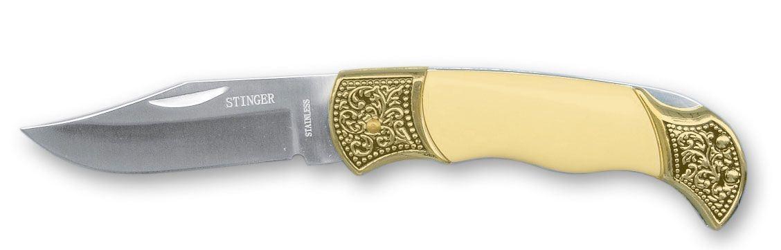 """Нож складной Stinger """"YD-9705"""", цвет: золотистый, 8,2 см"""